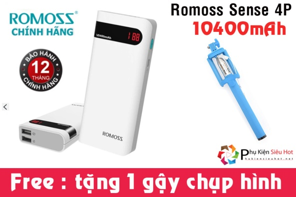 PIN SAC DU PHONG ROMOSS SENSE 4P 10400MAH
